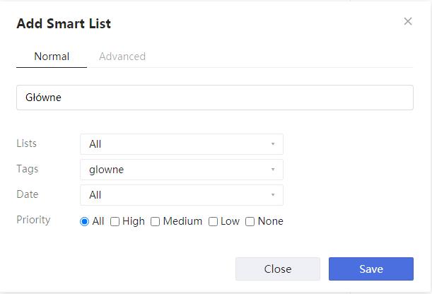inteligentna lista + tag